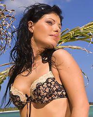 Cute brunette girl in bikini showing her tits