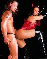 Wild devil girl in latex dominating this guy