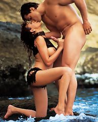 Exotic latina fucking lucky guy on some rocks